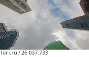 Купить «Timelapse View On Singapore City Skyscrapers», видеоролик № 26037733, снято 23 марта 2019 г. (c) Кирилл Трифонов / Фотобанк Лори