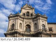 Купить «Baroque style Chiesa di San Placido Monaco e Martire (Church of Saint Placidus) in Catania city on the east side of Sicily Island, Italy.», фото № 26040489, снято 16 декабря 2016 г. (c) easy Fotostock / Фотобанк Лори