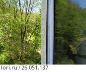 Открытое окно с видом на зеленый весенний лес, фото № 26051137, снято 11 апреля 2017 г. (c) DiS / Фотобанк Лори