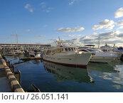 Купить «Моторные яхты и катера у причала в морском порту Сочи», фото № 26051141, снято 15 октября 2016 г. (c) DiS / Фотобанк Лори