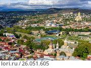Купить «View of city center Tbilisi. Georgia», фото № 26051605, снято 24 сентября 2016 г. (c) Elena Odareeva / Фотобанк Лори