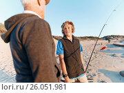 Купить «Senior man fishing with his grandson», фото № 26051981, снято 15 апреля 2015 г. (c) Sergey Nivens / Фотобанк Лори