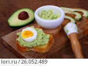 Купить «Бутерброд с авокадо», фото № 26052489, снято 22 апреля 2017 г. (c) Марина Володько / Фотобанк Лори