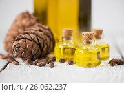 Купить «The cedar oil in a glass bottle», фото № 26062237, снято 23 апреля 2017 г. (c) Jan Jack Russo Media / Фотобанк Лори