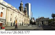Купить «Picturesque view in Sunny day Plaza de Armas in the city center. Santiago, Chile», видеоролик № 26063177, снято 11 февраля 2017 г. (c) Яков Филимонов / Фотобанк Лори