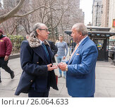 Former NYPD detective and now private investigator Bo Dietl, right, greets attorney Sanford Rubenstein, left, outside NY City Hall prior to announcing... (2017 год). Редакционное фото, фотограф Richard Levine / age Fotostock / Фотобанк Лори