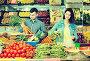 Young joyous couple choosing vegetables in grocery shop, фото № 26077685, снято 18 марта 2017 г. (c) Яков Филимонов / Фотобанк Лори