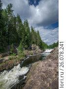 The Kivach waterfall. Karelia. July 2013. Водопад Кивач. Карелия. Июль 2013. Редакционное фото, фотограф Павел Семенцов / Фотобанк Лори