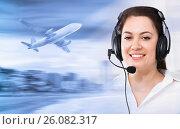 Купить «Dispatcher navigating plane», фото № 26082317, снято 26 июня 2019 г. (c) Яков Филимонов / Фотобанк Лори