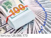 Folded dollar bills wrapped by rubber band over dollars banknotes, фото № 26086173, снято 26 апреля 2017 г. (c) FotograFF / Фотобанк Лори