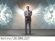 Купить «Angel investor concept with businessman with wings», фото № 26086221, снято 18 октября 2018 г. (c) Elnur / Фотобанк Лори