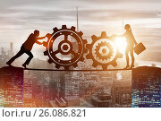 Купить «Businesspeople in teamwork example with cogwheels», фото № 26086821, снято 21 августа 2019 г. (c) Elnur / Фотобанк Лори