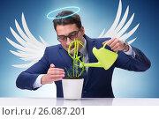 Купить «Businessman in angel investor concept growing future profits», фото № 26087201, снято 18 октября 2018 г. (c) Elnur / Фотобанк Лори
