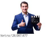 Купить «Handsome man with movie clapper isolated on white», фото № 26087877, снято 5 ноября 2016 г. (c) Elnur / Фотобанк Лори