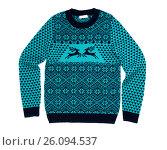 Купить «Fashionable blue sweater with deer, isolate», фото № 26094537, снято 19 января 2017 г. (c) Руслан Кудрин / Фотобанк Лори