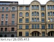 Купить «Riga, Bruninieku 2-4, quarter in the Art Nouveau style», фото № 26095413, снято 17 февраля 2017 г. (c) Andrejs Vareniks / Фотобанк Лори