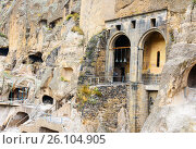 Купить «Church of the Dormition in Vardzia cave monastery. Georgia», фото № 26104905, снято 29 сентября 2016 г. (c) Elena Odareeva / Фотобанк Лори