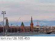 Московский Кремль, вид с реки. Редакционное фото, фотограф Малахов Алексей / Фотобанк Лори