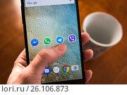 Купить «Moscow, Russia - January 30, 2017: Social network applications on Nexus smartphone display», фото № 26106873, снято 30 января 2017 г. (c) Богданов Степан / Фотобанк Лори
