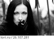 Купить «Woman with a cigarette, black and white photo», фото № 26107281, снято 14 ноября 2011 г. (c) Анна Гучек / Фотобанк Лори