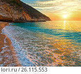 Купить «Sunset Myrtos Beach (Greece, Kefalonia, Ionian Sea).», фото № 26115553, снято 12 июня 2014 г. (c) Юрий Брыкайло / Фотобанк Лори