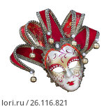 Купить «Венецианская карнавальная маска на белом фоне изолировано крупным планом, Италия», фото № 26116821, снято 14 апреля 2017 г. (c) Наталья Волкова / Фотобанк Лори