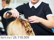 Купить «hairdo in beauty salon. hairdresser making coiffure with curl to wonam», фото № 26118009, снято 28 марта 2017 г. (c) Дмитрий Калиновский / Фотобанк Лори