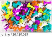 Купить «Multi-colored clerical buttons», фото № 26120089, снято 29 декабря 2013 г. (c) Анна Гучек / Фотобанк Лори