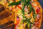 Pizza with ham, corn and pepper. Traditional italian food, фото № 26120125, снято 1 мая 2017 г. (c) Марина Володько / Фотобанк Лори