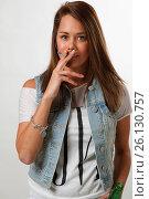 Купить «Young woman smoking», фото № 26130757, снято 21 февраля 2020 г. (c) easy Fotostock / Фотобанк Лори