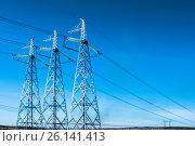 Линия электоропередачи (ЛЭП) на фоне синего неба. Стоковое фото, фотограф Сергеев Валерий / Фотобанк Лори