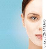 Купить «close up of woman with collagen facial mask», фото № 26141645, снято 2 апреля 2011 г. (c) Syda Productions / Фотобанк Лори