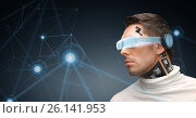 Купить «man in virtual reality glasses and microchip», фото № 26141953, снято 17 ноября 2012 г. (c) Syda Productions / Фотобанк Лори