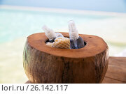 Купить «body lotion spray in coconut shell at beach spa», фото № 26142117, снято 14 февраля 2015 г. (c) Syda Productions / Фотобанк Лори