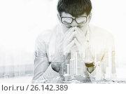 Купить «tired businessman with eyeglasses at office», фото № 26142389, снято 18 июня 2015 г. (c) Syda Productions / Фотобанк Лори