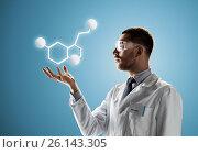 Купить «scientist in safety glasses with molecular formula», фото № 26143305, снято 9 марта 2017 г. (c) Syda Productions / Фотобанк Лори