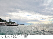 Купить «Вид на пляж в Сочи, Россия», фото № 26144181, снято 29 сентября 2014 г. (c) Александр Карпенко / Фотобанк Лори