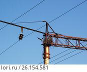 Гнездо сороки на опоре контактной электросети на железной дороге. Стоковое фото, фотограф Валерий Лаврушин / Фотобанк Лори