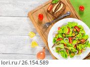Купить «Cherry tomatoes, red onion, green olives, lettuce leaves, smoked sprats», фото № 26154589, снято 10 января 2016 г. (c) Oksana Zh / Фотобанк Лори
