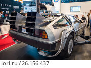 "Купить «STUTTGART, GERMANY - MARCH 02, 2017: The DeLorean time machine (Back to the Future franchise) based on a DeLorean DMC-12 sports car. Europe's greatest classic car exhibition ""RETRO CLASSICS""», фото № 26156437, снято 2 марта 2017 г. (c) Sergey Kohl / Фотобанк Лори"