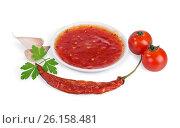 Купить «Red hot chilli sauce», фото № 26158481, снято 10 июня 2015 г. (c) Кропотов Лев / Фотобанк Лори
