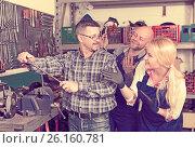 Купить «Portrait two workers and superviser», фото № 26160781, снято 18 ноября 2018 г. (c) Яков Филимонов / Фотобанк Лори
