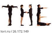 Купить «Black dressed people forming word THE», фото № 26172149, снято 30 июля 2012 г. (c) Tatjana Romanova / Фотобанк Лори
