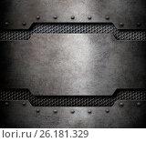 Купить «Grunge metal background with comb grid 3d illustration», иллюстрация № 26181329 (c) Андрей Кузьмин / Фотобанк Лори
