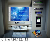 Купить «ATM machine, money cash and credit cards. Withdrawing dollar banknotes.», фото № 26182413, снято 22 февраля 2018 г. (c) Maksym Yemelyanov / Фотобанк Лори