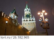 Купить «Спасская башня Московского Кремля на рассвете», фото № 26182965, снято 1 января 2017 г. (c) Илья Бесхлебный / Фотобанк Лори