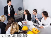 Купить «company of architects brainstorming in office», фото № 26186389, снято 7 декабря 2019 г. (c) Яков Филимонов / Фотобанк Лори