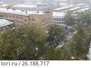 Купить «Снегопад в Москве 8 мая 2017 года», фото № 26188717, снято 8 мая 2017 г. (c) Евгений Лихолатов / Фотобанк Лори