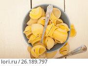 Купить «Italian snail lumaconi pasta», фото № 26189797, снято 13 апреля 2017 г. (c) Francesco Perre / Фотобанк Лори