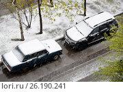 Снегопад в мае. Москва 2017, эксклюзивное фото № 26190241, снято 8 мая 2017 г. (c) Юрий Морозов / Фотобанк Лори